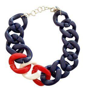 Alisha D Necklace Red White Blue Acrylic